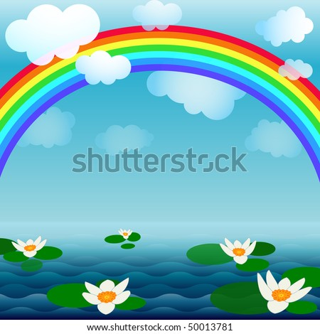 Bright spring background with a rainbow, clouds and flowers