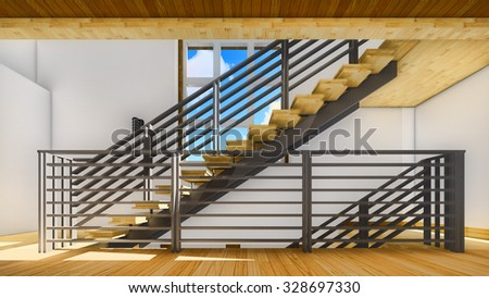 Bright staircase in the modern office - stock photo