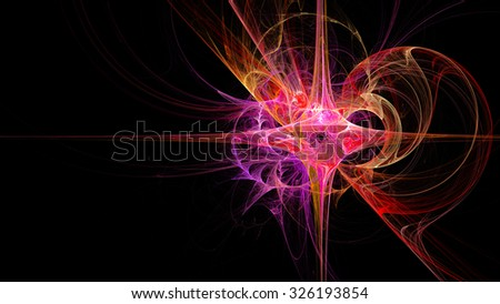 Bright Star. Abstract image. Fractal Wallpaper on your desktop. Format 16:9 for widescreen monitors. Digital artwork for creative graphic design. - stock photo