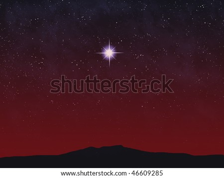 Bright star over horizon at sunset or sunrise.
