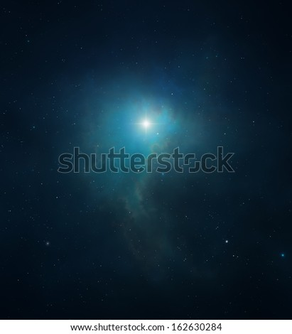 Bright star shining deep in the middle of a dark blue nebula - stock photo