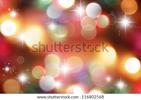 Bright stars Christmas lights background - stock photo