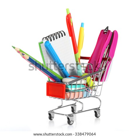 Bright stationery objects in mini supermarket cart isolated on white background - stock photo