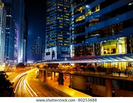 Bright streets in Hong kong - stock photo
