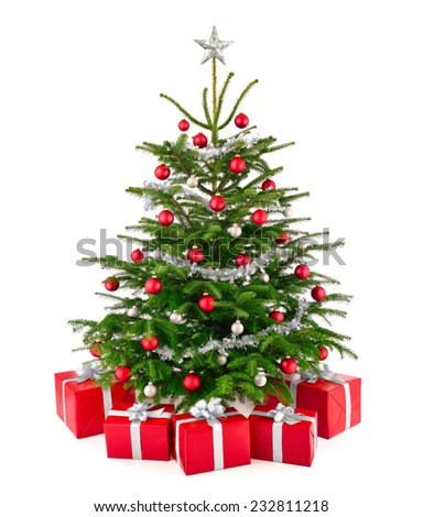 Bright studio shot of a gorgeous lush Christmas tree decorated in red and silver, with matching gift boxes arranged in front of it, isolated on pure white background - stock photo