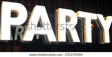 Bright Stylish and Modern Party Sign - stock photo
