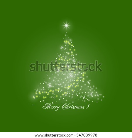 Bright Stylized Christmas Tree of Lights  on Green Background,  Merry Christmas - stock photo