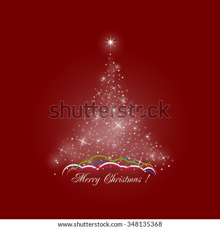 Bright Stylized Christmas Tree of Lights on Red Background ,  Colorful Snow Drifts, Merry Christmas - stock photo