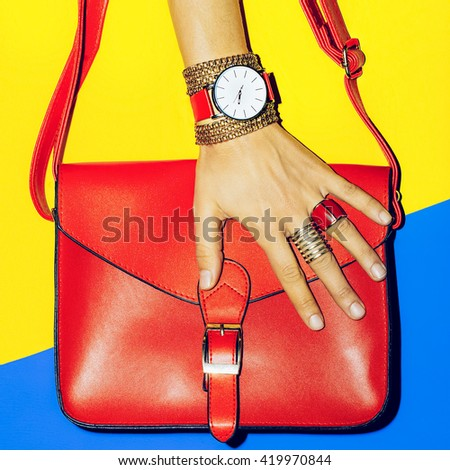 Bright Summer Accessories. Bag and Jewelry. Focus on Red. - stock photo