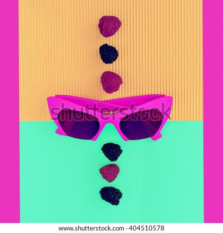 Bright Summer. Bright fashion Accessories. Crimson Sunglasses Glamour Style - stock photo