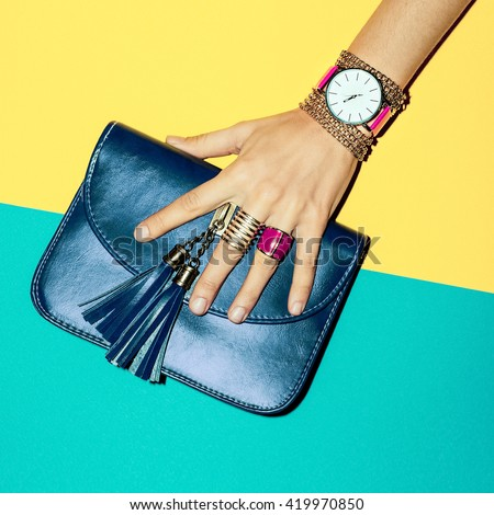 Bright Summer Fashion Accessories Ladies. Stylish Clutch and Jewelery. - stock photo