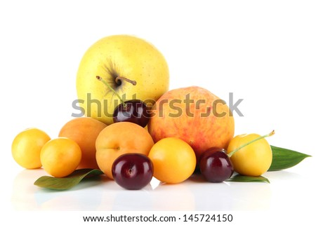 Bright summer fruits isolated on white - stock photo