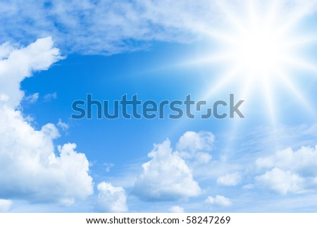 Bright summer sun and clouds - stock photo