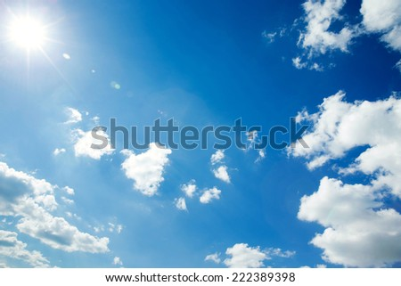 Bright sun and blue sky