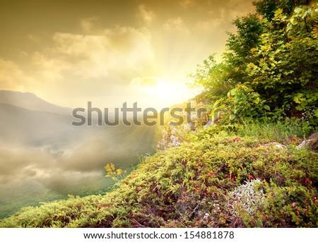 Bright sun in the mountains, Crimea, Ukraine - stock photo