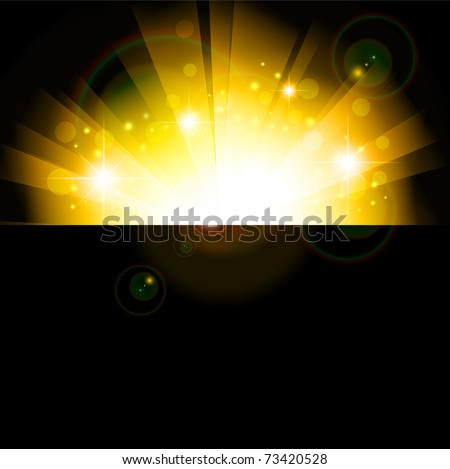 bright sun in the night, copyspace - stock photo