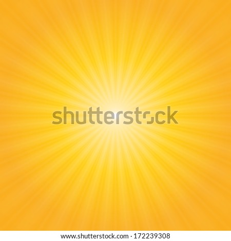 Bright sunbeams, shiny summer background with vibrant yellow & orange colors. Vector illustration. Perfect light striped background - stock photo
