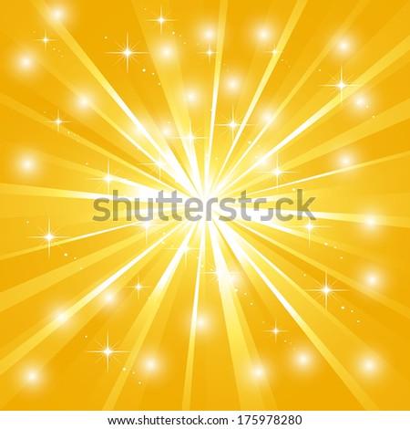 Bright sunburst with sparkles - stock photo