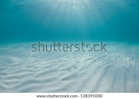 Bright sunlight falls through clear, tropical seas onto white sand. - stock photo