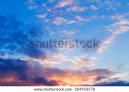 Bright sunset. Nature background
