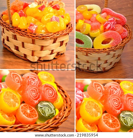 Bright sweets, lollipops, jellies in the wicker basket on the wooden background, candied, collage - stock photo