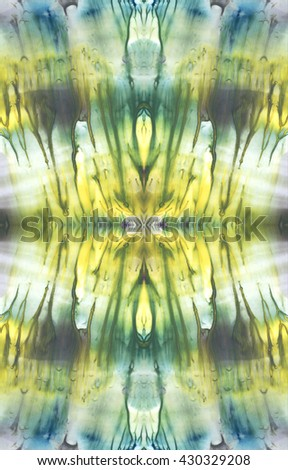 Bright symmetric background. Blue, violet and yellow paint. Abstract watercolor painting. - stock photo