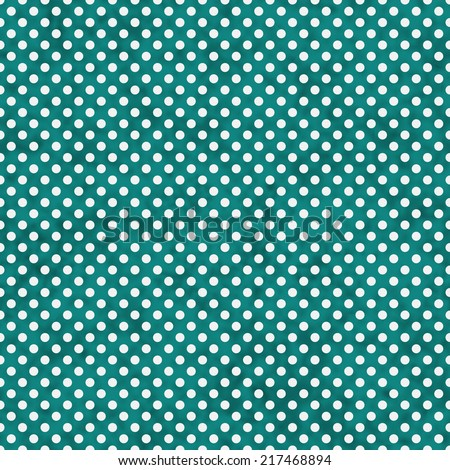 Bright Teal and White Small Polka Dots Pattern Repeat Background that is seamless and repeats - stock photo