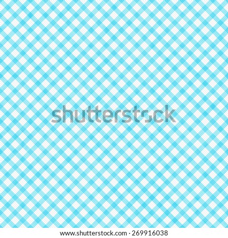 Bright Teal Gingham Pattern Repeat Background that is seamless and repeats - stock photo