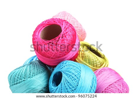 Bright threads for knitting isolated on white - stock photo