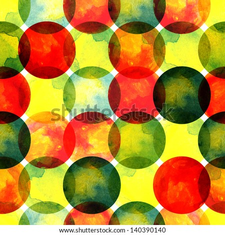 bright transparent colorful watercolor bubbles seamless pattern