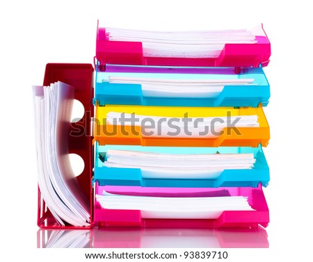 bright trays for papers isolated on white