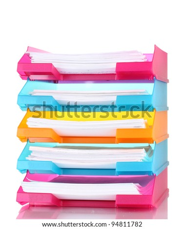 bright trays for papers isolated on white - stock photo