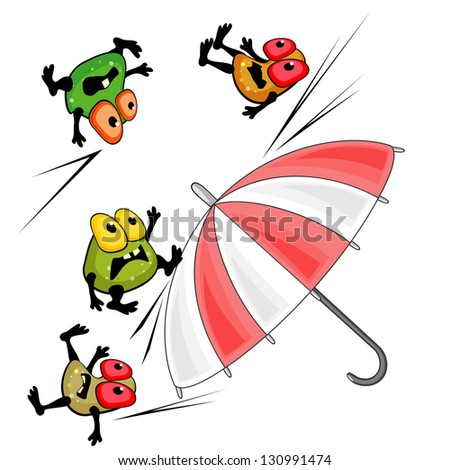 Bright umbrella and germs as concept of antibacterial action or protection - stock photo