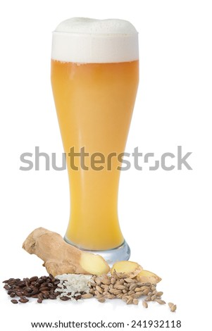 Bright unfiltered beer with foam in the glass on a white background with malt, barley and ginger - stock photo