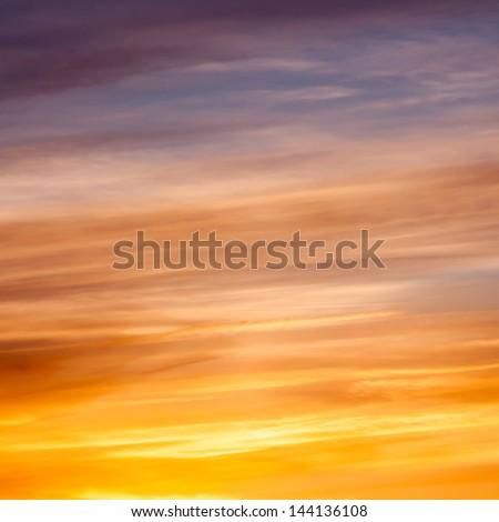 Bright vibrant colors sunset sky for background