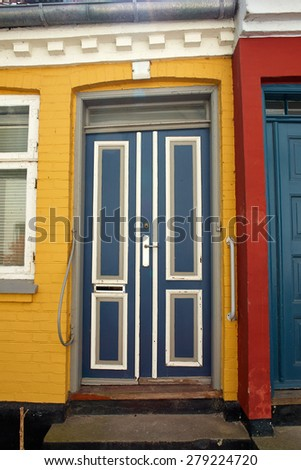 Bright vivid beautiful colors traditional classical painted front wooden door