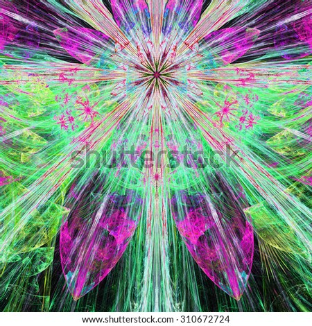 Bright vivid pink,purple,green,blue exploding flower/star fractal background with a detailed decorative pattern, all in high resolution. - stock photo