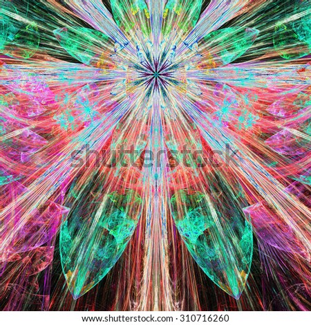Bright vivid pink,red,green exploding flower/star fractal background with a detailed decorative pattern, all in high resolution. - stock photo