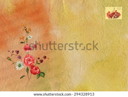 Bright watercolor background texture with sheet music, Victorian roses and a place for text, with a postage stamp with grapes that says 'France, 5 centimes' (former French currency)