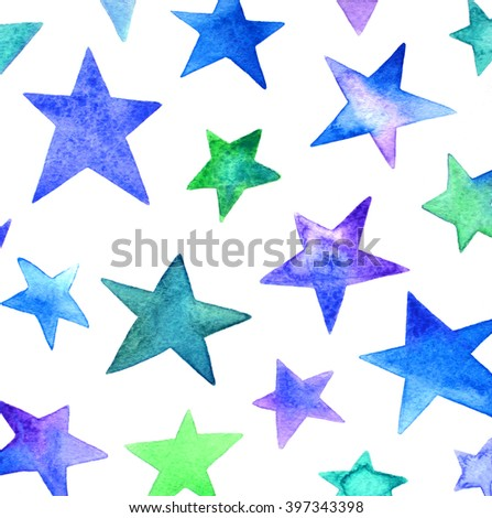 Bright watercolor stars pattern on white background. Hand draw image.Design illustration. - stock photo