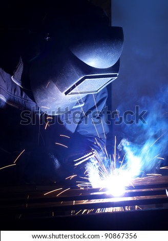 Bright welding. Work composition - stock photo