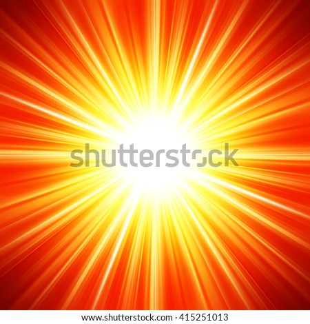 Bright white flash on a orange background. Abstract wallpaper.