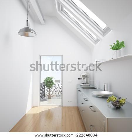 Bright white kitchen in an small attic apartment - stock photo