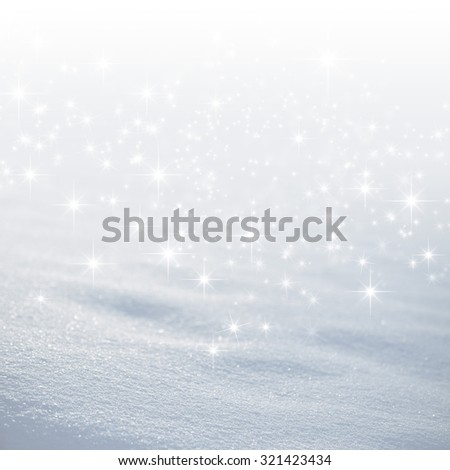 Bright white snow background with star lights raining down - stock photo