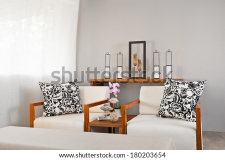 Bright white wooden sofa seat in luxury interior decoration