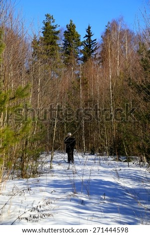 bright winter day in the forest with ski tourist - stock photo