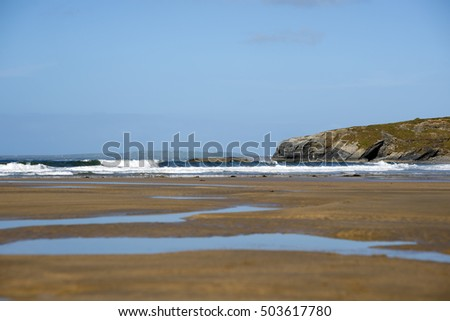 bright winter view of ballybunion beach and cliffs on the wild atlantic way in ireland