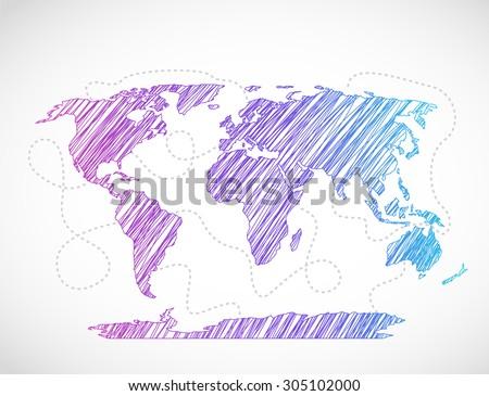 Bright world map seaway template