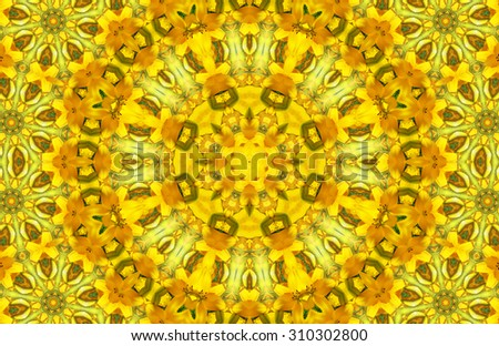 Bright yellow abstract pattern with flowers - stock photo