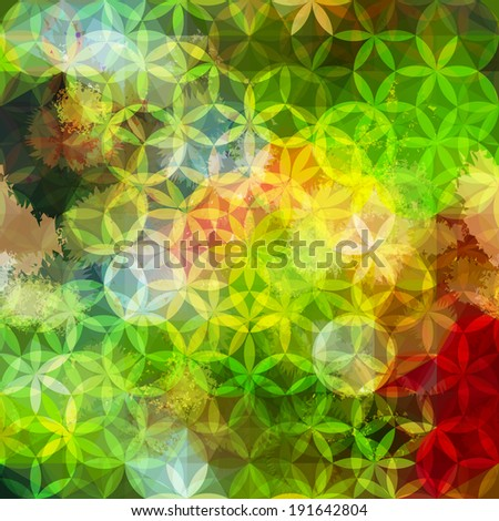 Bright yellow and green defocused background with geometric triangular ornament. Raster version - stock photo